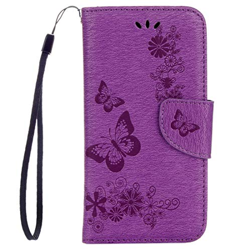 Dmtrab para Para Huawei P8 Lite (2017) Mariposas en Relieve Funda de Cuero Horizontal Flip con Soporte y Ranuras para Tarjetas y Billetera y cordón (Negro) (Color : Purple)