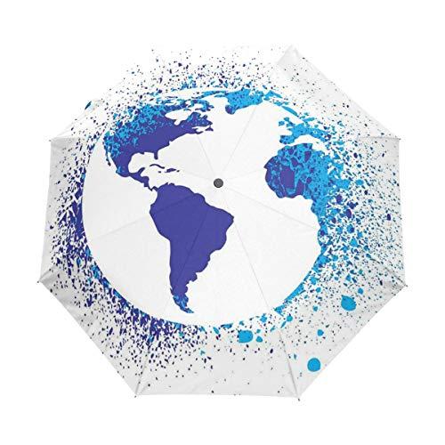 SUHETI Regenschirm Taschenschirm,Abstrakter Globus-Tinteneffekt-Karten-Druck,Auf Zu Automatik,windsicher,stabil