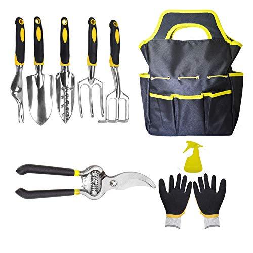ELVASEN Garden Tools Set, 9 Piece Aluminum Heavy Duty Gardening Kits, Planting Tools, Garden Shovel, Rake, Gloves, Watering Bottles and Pruner, Great Gift for Women and Men