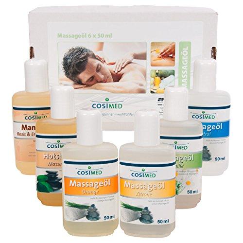 Probierset Massageöl, Massage Öl, Massageöle, Physiotherapie 6 Flaschen à 50 ml