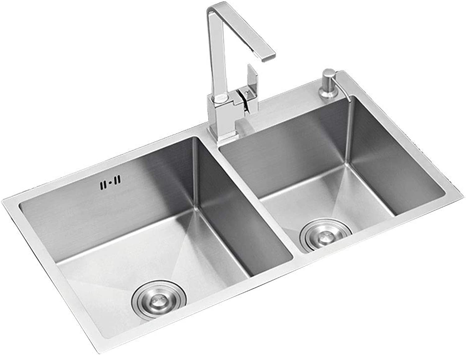 Wash Stands & Vanity Units Sink Stainless Steel Sink Manual Sink Double Sink Kitchen Sink Square Sink Dish Basin 4MM Thick Stainless Steel Sink Wash Basin (color   Silver, Size   72  40  22 cm)