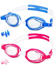 Kids Swim Goggles, Pack of 2 [Anti Fog/UV Resistant] Wide Clear Vision Swimming Goggles for Kids Boy Girl, yuangaoshow Coating Lens Eyes Protection Swimming Glasses,[With Nose+Ear Plugs]