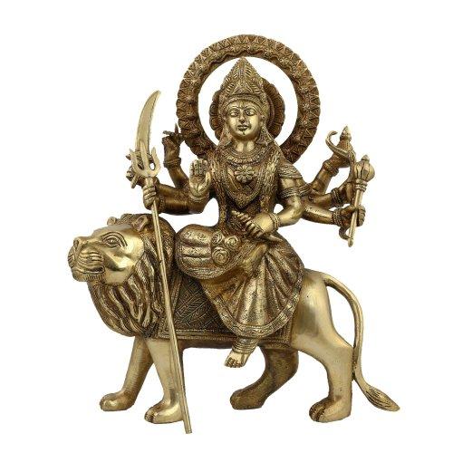 Shalinindia Durga Idol Arte Religiosa sculture per la casa; Ottone; 30,5cm