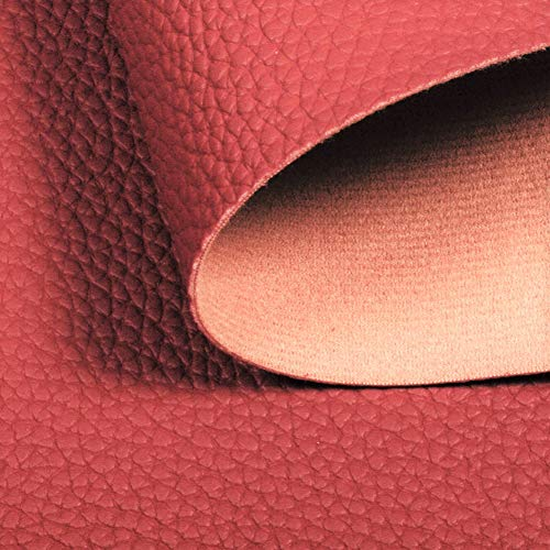 Meneng Solid PU Synthetic Leather Faux Litchi Pattern Leather Sheet 9 x 53 Perfect for Dressing Sewing Crafting DIY Projects Deep Red