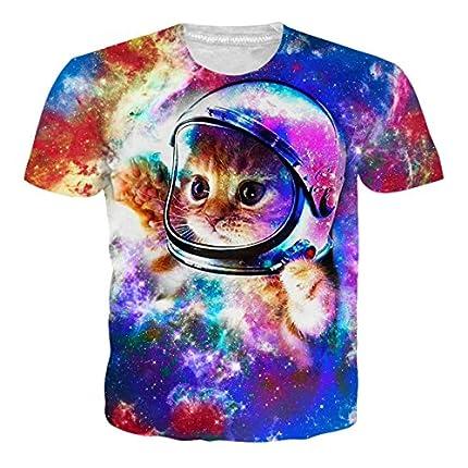 RAISEVERN 3D Gato Camiseta Estampada Hombre Divertidas T-Shirt Mujer Manga Corta XL