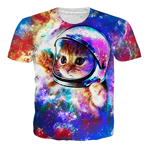 RAISEVERN Unisex Mens Womens Boys Astronaut Space Cat Shirt 3d Printed Summer Casual Short Sleeve T Shirts Tees 2018 Style Astronaut Cat X-Large