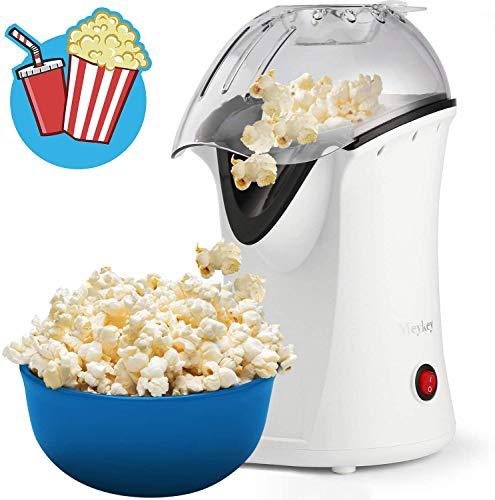 Professionelle Meykey Popcornmaschine für Zuhause zum selber machen, 1200W Heißluft Popcorn Maker, Öl ist nicht notwendig, Weites-Kaliber-Design mit Messbecher und abnehmbarem Deckel, Weiß
