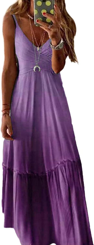 Linsery Women V Neck Ruffle Maxi Dress Spaghetti Strap Boho Summer Beach Long Sundress