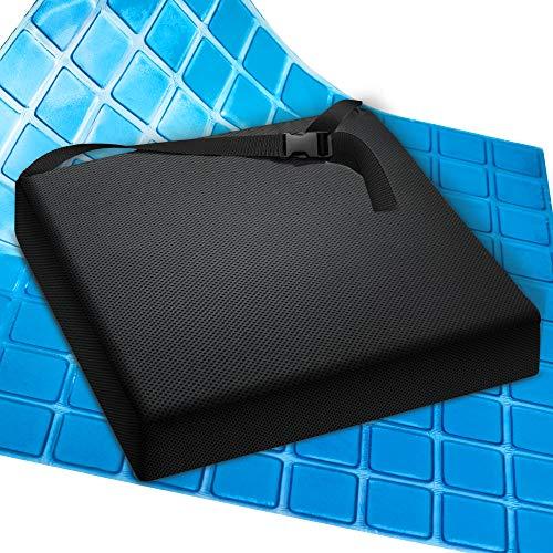 AIESI® Cojín Antiescaras Profesional (Certificado) Memory en Poliuretano expandido con cojín Interior de Gel viscoelástico y cinturón cm 44x44x7h