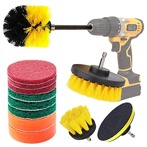 Drill Brush Attachment Kit, 13 Pcs Drill Brushes Set Power Scrubber Polishing Pads Cleaning Brushes Kits for Kitchen, Car, Bathroom, Sinks, Floor, Wheels, Ceramic, Carpet(with 6' Extender Rod)