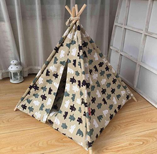 Dierenbenodigdheden Hondenkennel met buffer Huisdierentent Stevige houten staaf Huisdierentent Katoenen tent Comfortabel en verwijderbaar 50X50X65Cm