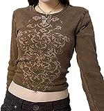 Y2K - Camiseta de manga larga para mujer con diseño gráfico, Marrón 1543, S
