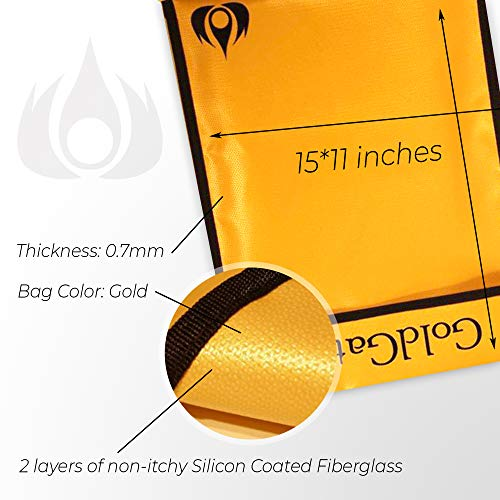 """Fireproof Document Bags Waterproof, Fire Safe Document Holder – 15""""x 11"""" Fireproof & Waterproof Safe Bag, Silicone Coated Pouch for Your A4 Documents, Files, Money & Jewelry, Gold Photo #6"""