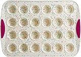 Trudeau 24 Count Mini Muffin Pan Silicone Bakeware, Confetti White