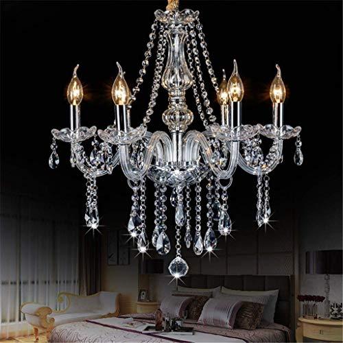 YANQING duurzame hanger, kroonluchter armen 6, 6 van transparant glas en kristal kroonluchter lampen 50 * 50cm plafond kroonluchter