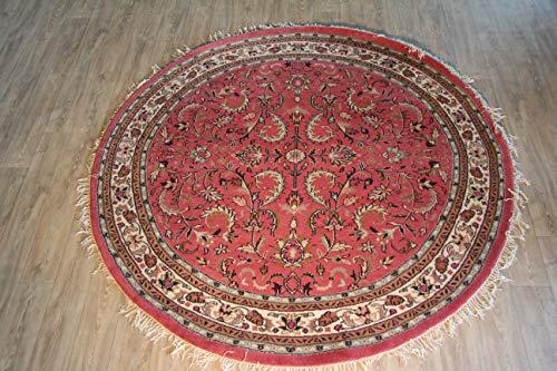 MAREL-DIDI Orientteppich Täbriz rosé in ca. 250 cm RUND, handgeknüpft