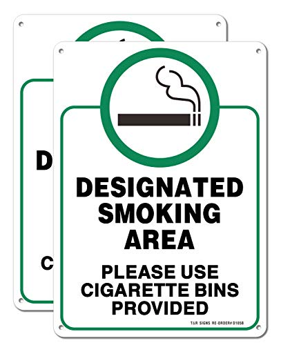 Designated Smoking Area, Please Use Cigarette Bins Provided Sign - 2 Pack - 10 x 7 Inches Rust Free .040 Aluminum - UV Protected, Waterproof, Weatherproof and Fade Resistant - 4 Pre-drilled Holes