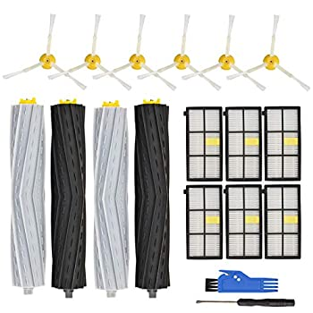 RONGJU Replacement Parts Accessories Compatible with iRobot Roomba 800 Series 850 860 861 864 866 870 871 880 890 891 900 Series 960 961 964 980 981 2 Set Roller Brush 6 Side Brushes 6 Filters