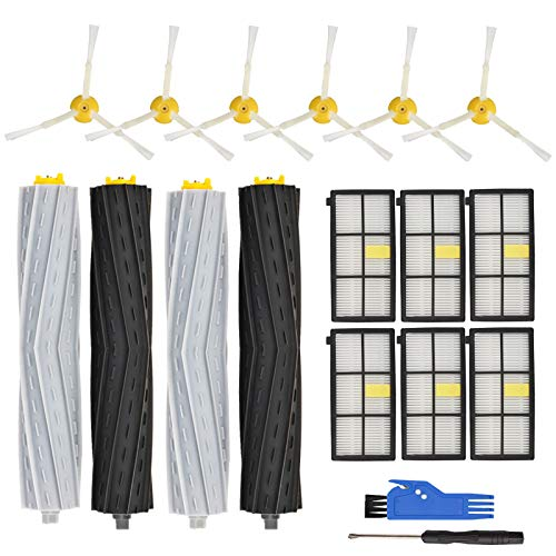 RONGJU Replacement Parts Accessories Compatible with iRobot Roomba 800 Series 850 860 861 864 866 870 871 880 890 891, 900 Series 960 961 964 980 981, 2 Set Roller Brush, 6 Side Brushes, 6 Filters