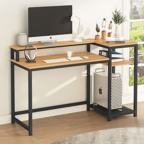 Tribesigns Mesa de Ordenador, Escritorio de Computadora con Estantería & Soporte de Monitor, Industrial Mesa de Estudio para Oficina, Dormitorio (Arce)