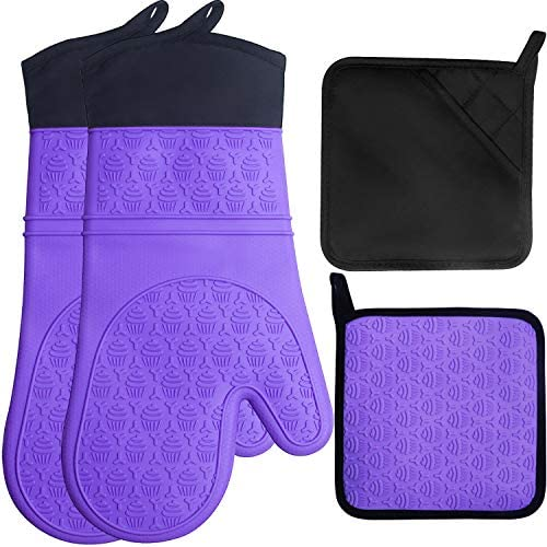 Bobalaly Silicone Oven Mitts and Pot Holders Set 500 F Heat Resistant Oven Gloves Flexible for product image