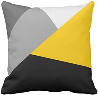 Emvency Throw Pillow Cover Contemporary Simple Modern Gray Yellow and Black Geometric Decorative Pillow Case Home Decor Square 20 x 20 Inch Pillowcase