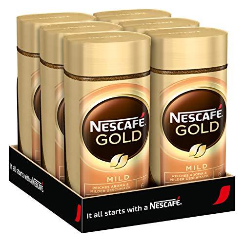 NESCAFÉ GOLD Mild, löslicher Bohnenkaffee aus erlesenen Kaffeebohnen, Instant-Pulver, koffeinhaltig & aromatisch, 6er Pack (6 x 100g)
