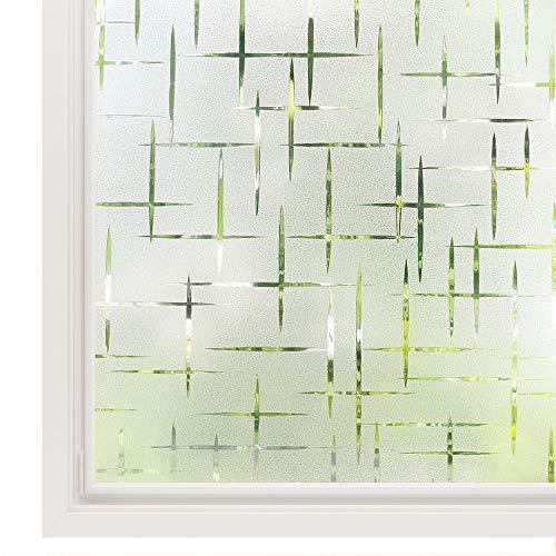rabbitgoo Fensterfolie statisch haftend Sichtschutzfolie Selbstklebend Klebefolie Milchglasfolie Fenster Folie Milchglas Dekofolie für Bad Küche Anti-UV - Kreuz - 90 x 200 cm