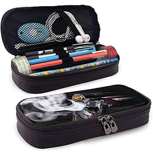 PU Leder Federmäppchen, Bullet Smoke Photo Aufbewahrungsetui, Kosmetiktasche, Schreibwaren Organizer Pencil Pouch