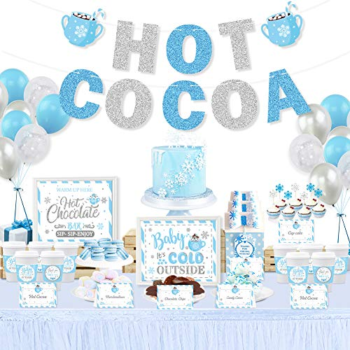 Hot Cocoa Bar Kit Hot Cocoa Bar Banner Baby It's Cold Outside Bar Sign Toppings Labels Tent Cards Cup Tags Stickers with 30pcs Snowflake Balloons for Frozen Party Winter Wonderland Birthday Baby Shower Hot Chocolate Bar Decorations