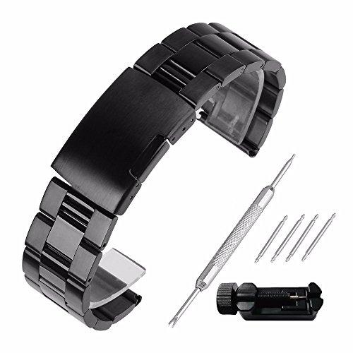 Echthaarverlängerung Armband zeigt 30mm Stahl 304Ersatz mit Armband Link Pin Remover Set Reparatur Werkzeugset Armband hat Schnalle, Band Handgelenk-Wasserdicht Watch Band Set # 60