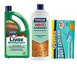 NUNCA - Set de 2 3 unidades de detergente para suelos de parquet - Livax Cera Wint Parquet mármol gres 1 l + 50 paños eléctricos atrapapolvo 22 x 29 Set Livax - W. Parquet