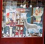 UMIPUBO Weihnachten Aufkleber Fenster Dekoration Weißer großer Elch Fensteraufkleber Schneeflocke Fensterbild PVC Entfernbarer Elektrostatischer Aufkleber Weihnachtssticker (Weihnachten) - 2