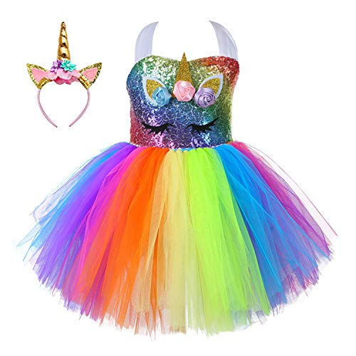 Child Girls Unicorn Mesh Princess Fancy Costume Party Pageant Tulle Tutu Dresses