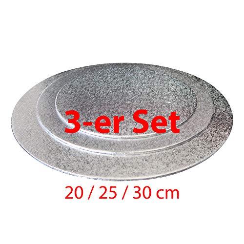 Cake-Board-Set 3 TLG. ca. Ø 20/25/ 30 cm Silber, Kuchenplatte rund aus Pappe, Tortenunterlage Set