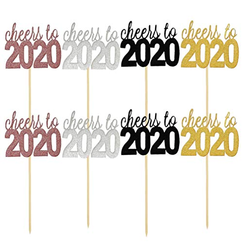 NUOBESTY 32pcs 2020 Cheer to New Year Cake Toppers Cupcake Toppers 2020 New Year Eve Party Decorations Supplies (Golden + Silver + Black + Rosy)