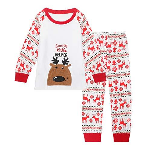 Qtake Fashion - Pijama para niños de 1 a 12 años de Navidad (100% algodón) 1-Navidad 2-3 Años