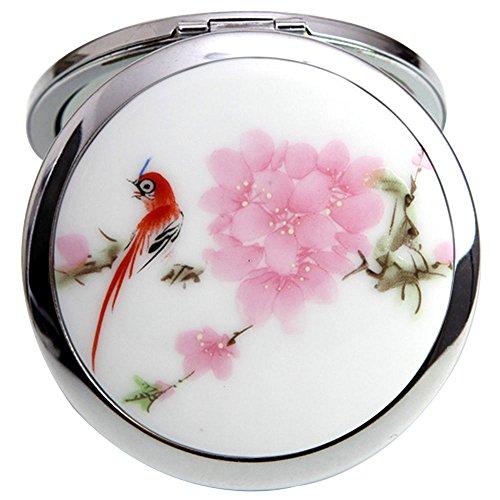Merssavo Paysage Chinois Fleur Oiseau Portable Pliable Poche Métal Miroir De Maquillage Rose