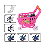 Kids Shopping Cart, Kids Plastic Shopping Cart, Children Shopping Cart, Smooth and Mellow Eco-Friendly Comfortable Non-Toxic Childen Baby for Kids(Red with Food)