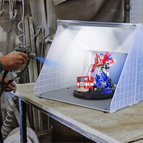 Kacsoo Kit de manguera de cabina de pulverización de piezas de modelo de juguete con aerógrafo, mesa giratoria de cabina de pulverización de hobby para manualidades de pintura profesional (With Light)