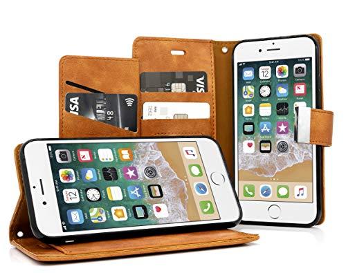 MyGadget Funda Flip Cierre Magnético para Apple iPhone 6 6s en Cuero Sintético PU - Carcasa Tarjetero con 5 Bolsillos y Soporte Plegable Anti Golpes - Café