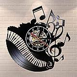 Fryymq (12 Pulgadas con LED) Sala de Piano Notas Musicales Reloj de Disco de Vinilo músico Pianista Maestro Arte de Pared Reloj de Vinilo Reloj de música
