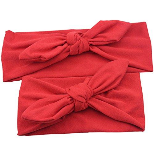 perfeclan Diademas de Turbante Elástico Elástico para Madre E Hija de 2 Piezas - Rojo