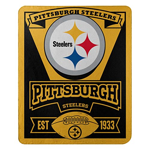 Officially Licensed NFL Pittsburgh Steelers 'Marque' Printed Fleece Throw Blanket, 50' x 60', Multi...