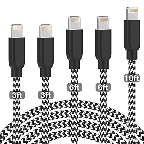 PLmuzsz [Apple MFi Certified] iPhone Charger 5pack [3/3/6/6/10FT] Lightning Cable Nylon Braided Compatible iPhone 12 Pro Max/Xs/XR/8/7/6s/SE/iPad More