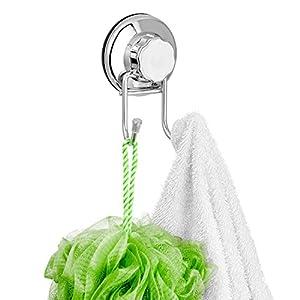 Gancho doble de acero inoxidable y ventosas, resistente y de fácil instalación, ideal para baños o cocinas, para colgar toallas, albornoces, abrigos y otros, marca Sanno