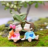 CHOUDOUFU Estatua Escultura Adorno 2 Unids/Set Sweety Lovers Pareja Silla Figuritas Hadas Jardín Miniaturas DIY Adorno Decoración Manualidades Figuritas Micro Paisaje