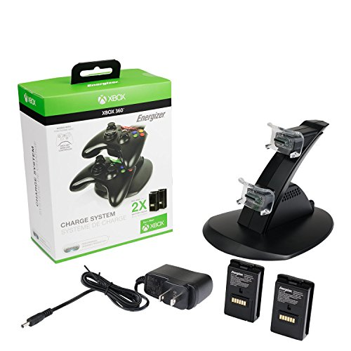 PDP Gaming Energizer Dual Controller Charging System, Two Rechargeable Battery Packs: Black - Xbox 360