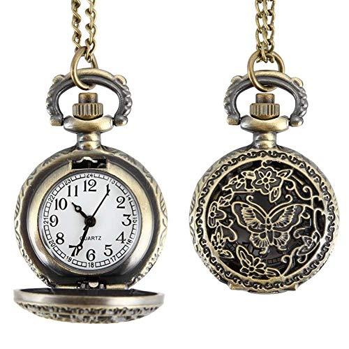 MingXinJia Relojes de Cabecera para el Hogar Reloj de Bolsillo Vintage, Reloj de Bolsillo de Cuarzo para Mujer de Moda Aleación Hueco Hacia Fuera Mariposas Suéter Vintage Collar de Cadena Reloj Colga