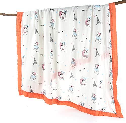 Couverture en mousseline de soie pour bébé à 4 couches 70% bambou 30% coton extra large 120 x 120 cm pré-lavé ultra doux pour nouveau-né jusqu'à 5 ans Motif animal chien